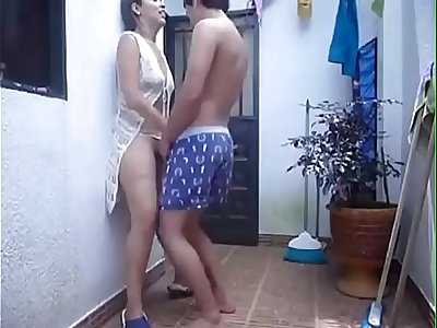 horny sexy couple fuck in outdoor